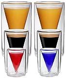 Set di Spitz a doppia parete vetro Espresso e bicchieri da liquore in vetro Spitz Design con Effetto Ondulato, ideale per espresso, Grappa, liquore e grappa, Acqua, Limo, Cola ecc.–SPIKEY parete da ML