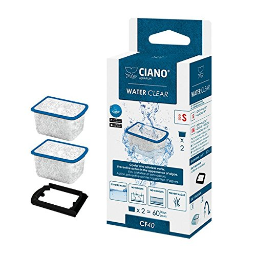 Ciano, filtri per acquario, cartucce filtranti water clear, compatibili con filtro sm/cf40, confezione doppia per un totale di 4 filtri (etichetta in lingua italiana non garantita)