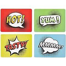Kitchen Craft tira de cómic juego de manteles individuales de corcho, juego de 4, Multi-color