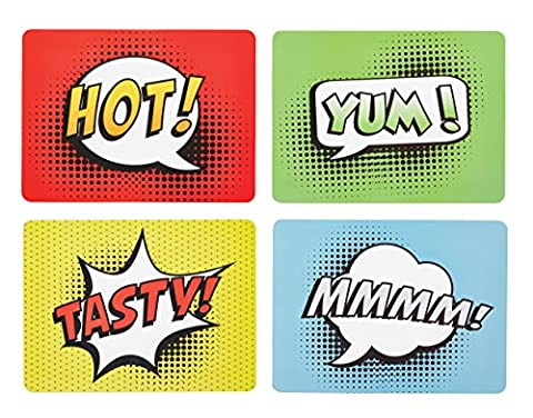 Kitchen Craft Comic Strip Cork Backed Placemats, Set of 4, Multi-Colour