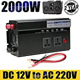 Caricabatteria auto Power inverter 2000 W DC 12 V a 220 V AC convertitore – 2 uscite standard UK + 4 caricatore porte USB + 2 accendisigari + Newest display digitale, alta qualità viaggio Outdoor ricarica per il telefono/laptop/tablet/DVD/asciugacapelli