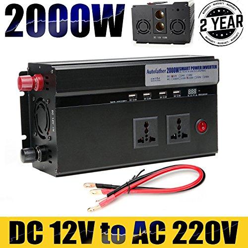 Caricabatteria auto Power inverter 2000W DC 12V a 220V AC convertitore–2uscite standard UK + 4caricatore porte USB + 2accendisigari + Newest display digitale, alta qualità viaggio Outdoor ricarica per il telefono/laptop/tablet/DVD/asciugacapelli