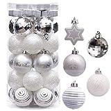 Victor's Workshop Palline di Natale Christmas Balls 35 Pezzi. 5cm Palline di Plastica Fissati Decorazioni per L'Albero di Natale Che Decorano L'Albero di Natale Ornamento Argento Bianco