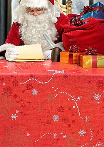 Navidad estilo, Rojo, oro estrellas mantel por wjdhome, se limpia con un paño, tamaño: 140cm x 200cm