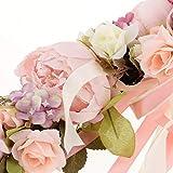SunniMix Hochwertige Simulationsseide Pfingstrosen Blumen Tür Kranz Ordnungs Girlanden Hochzeitsfest Blumen Anordnung - Rose - 5