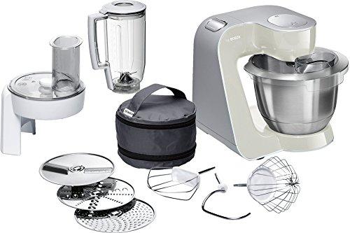 Bosch MUM58L20 Küchenmaschine CreationLine, 1000 W, 3,9 L Edelstahl-Rührschüssel, Durchlaufschnitzler, Mixer-Aufsatz, mineral grau  silber