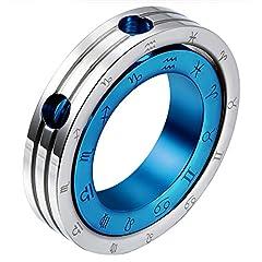 Idea Regalo - Oidea Collana acciaio inox Uomo con pendente doppio anello modello zodiaco costellazioni argento blu