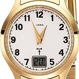 JOBO Damen Armbanduhr Funk Funkuhr Edelstahl gold vergoldet Damenuhr mit Datum