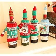 uchic 4pcs peluche muñeco de nieve Jersey de punto para botella de vino bolsa de juego