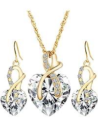 Emorias 1 Set Conjunto de Joyas Cristal Forma de Corazón Aleación Amor Blanco Pendientes Collar Traje Boda Regalos Joyería Accesorios
