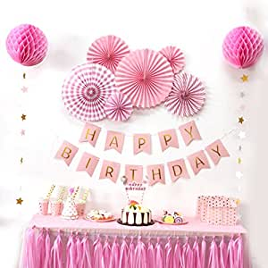 sunbeauty anniversaire decoration fille happy birthday rose rosace papier banderole gland de. Black Bedroom Furniture Sets. Home Design Ideas