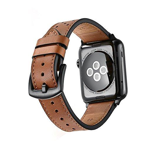 Apple Watch Strap Echtes Leder 38MM 42MM iWatch Kalb Ersatzband passen Serie 1 2 3 Sport Edition Classic Schnalle Dressy Vintage für Frauen Männer (Kalb Leder Braun)