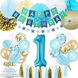 BRT Bearings 1er Anniversaire garçon décoration, bébé garçons première décoration Anniversaire avec numéro 1 Ballon d'anniversaire pour Bleu et Or Partie Fournitures décoration 1er Anniversaire