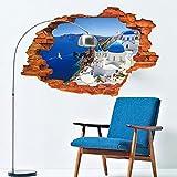 Wapel 3D Fototapete Blau Mediterrane Landschaft Fake Fenster Schlafzimmer Wohnzimmer Eingang Hintergrund Kunst PVC Die Abnehmbaren Wand Aufkleber 60 * 90 cm.