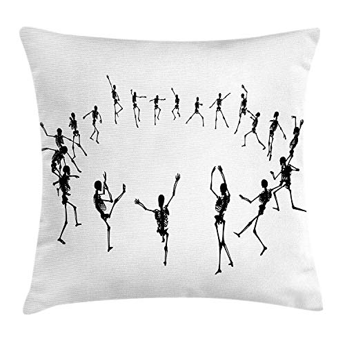 illow Cushion Cover, Skeleton Silhouettes Dancing in a Ring Happy Halloween Holiday Themed Monochrome, Decorative Square Accent Pillow Case, 18 X 18 Inches, Black White ()