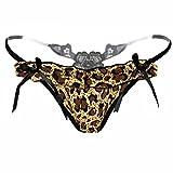 VENMO Thong Pants Frauen Leopard Spitzenhöschen Unterwäsche Wasser-lösliche Stickerei String (Coffee)
