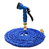 Garden Hose, Expandable Flexible Magic Hose Pipe Hose Solid Brass Hose Fittings & Spray Gun-Blue 50FT