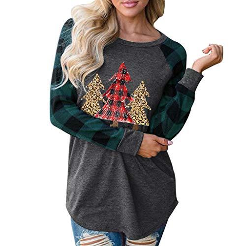 yazidan Damen Langarmshirt Rentier Pullover Frauen Weihnachten Drucken Plaid Sweatshirt Raglan Langarm Shirts Lässig Bluse Tops Oversize Pullover Oberteile Langarmshirt