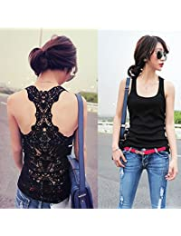 Vktech Sexy Women's Base Layer Shirt Vest Top Lace Hollow container (size: 34–36)
