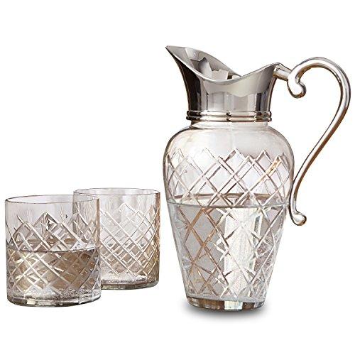 Loberon Karaffe mit Gläsern Roseline, Glas/Messing, H/B/T ca. 21/16 / 11 cm, klar/silber