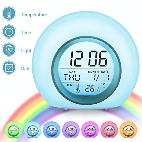 Charminer LED Kinderwecker, Wake Up-Wecker 7 Farbwechsel Ändern Lichtwecker, 5 natürliche Klänge Schlaf verbessern, Touch Control, 12/24 Stunden mit Innentemperaturanzeige für Kinder, blau
