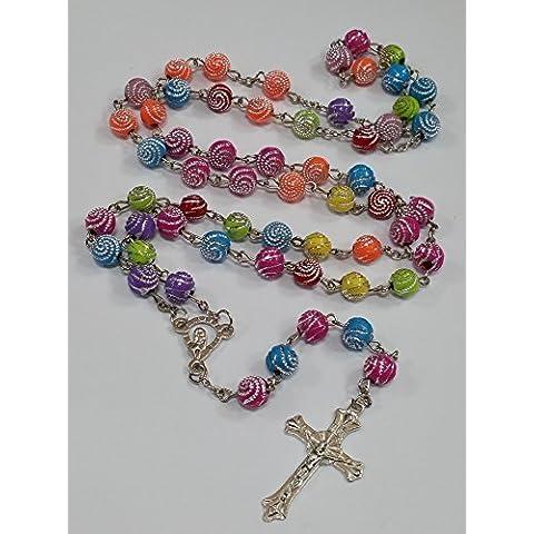 Multi colore arcobaleno Santo Rosario perline di cristallo Croce Collana In Argento Tono Effectz Sterling - Tono Multicolore In Vetro