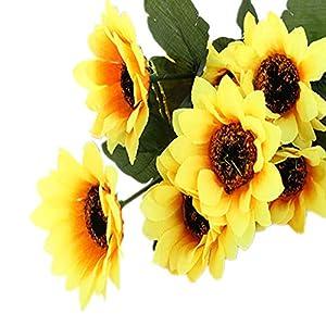 LEVEL GREAT Fiesta de la Boda Falsa Artificial 7 Cabezas de Girasol Falso Flor Ramo de Novia Hojas Flor de la simulación…