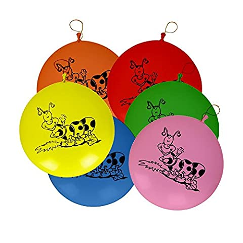 Assorted Coloured Large Punch Balloons with Elastic Party Decoration - Pink, Blue, Red, Yellow, Green, Orange - Ideal for Kids Birthday's, Special occasions. (30 Balloons)