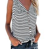 Débardeur Femme Haut Femme Bouton à col en V Chemise sans Manche Tops Stripe Tee-Shirt Tank (38/M, Rose Chaud -1)