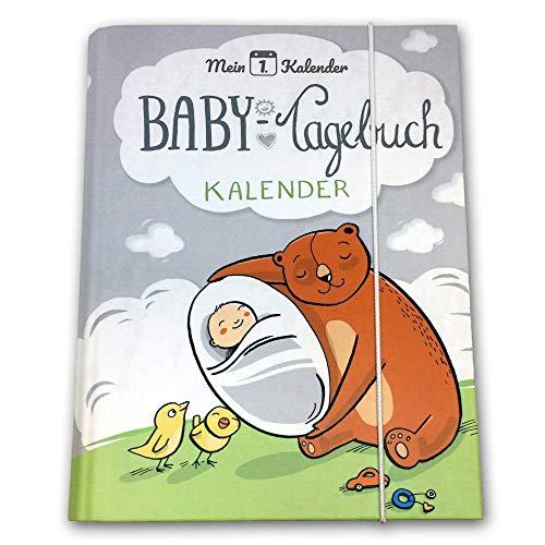 Mein 1. Kalender ® | das Babytagebuch | Entwicklungsberater | Geschenk zur Geburt | 365 Tipps und Tricks | A5 | Grau