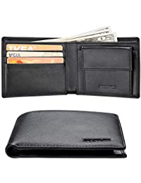 6c6919598 Cartera Hombre RFID Cuero Billetera Tarjetas Crédito con Monedas Bolsillo
