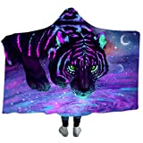 3D Tiger-Muster Decke mit Kapuze,Super Weiche Tagesdecken Wohndecke Kuscheldecke Schlafdecke Sofadecke für Kinder Kind Erwachsene Decken (Stil 2, 50