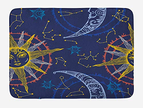 Zodiac Bath Mat, Sun and Crescent Moon and Forms Angles Planetary Orientation Astrology Boho Image, Plush Bathroom Decor Mat with Non Slip Backing, 23.6 W X 15.7 W Inches, Blue Yellow