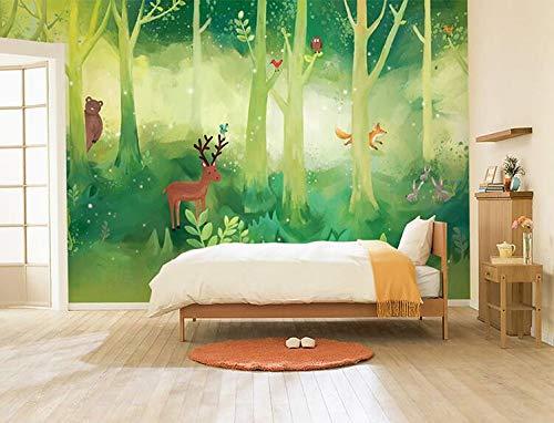 Cartoon-Tapete, Kinderzimmer, Schlafzimmer, Tapete, Wald, grüner Zauberer von Oz, 3D, dreidimensionale große Wandbilder, 300 × 210 cm