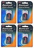 Eunicell EUNICELLBASICS Alkalibatterien Typ 9V 6LR61 (9V Block Alkaline, 4 Stück)