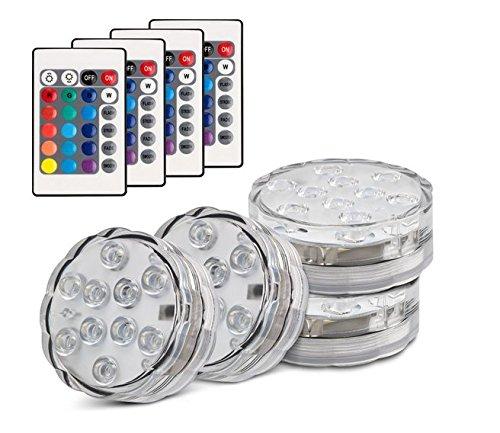 Set di 4 Pezzi Luce a LED RGB Sommergibile Luci Multicolori impermeabili 4 X 10pcs LED SMD con telecomando per Vasi, Giardino, Acquario, Stagno, Piscina, Cristallo, Feste, Natale, Halloween