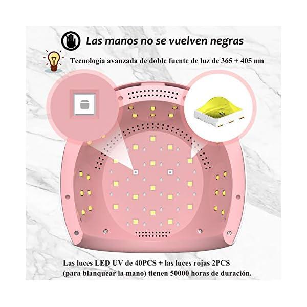 FASHSMILE Lampara LED Uñas, 84W SecadordeUñas Botón Táctil Lampara para Blanquear Incorporada con Pantalla LCD Temporizador de 30 seg, 60 seg, Modo de Calor Bajo 120 seg Secado Rápido Rosa