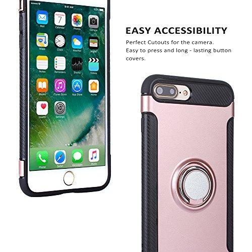 Techvibe iPhone 7Plus Coque, FIN Drop Coque de protection, prise en main Bague support, support de maintien, dos magnétique Cercle avec grille d'aération magnétique de voiture Vent Mount pour iPhone  rose gold