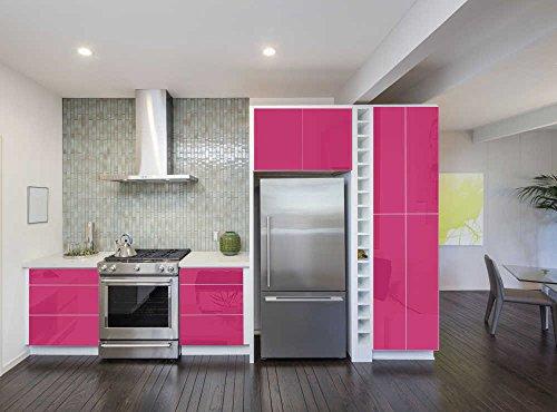 Aufkleber für Küchenschränke 63x500cm GLANZ - Folie aus hochwertigem PVC Tapeten Küche Klebefolie Möbel wasserfest für Schränke...