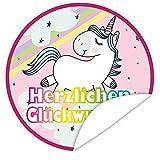 Herzlichen Glückwunsch Einhorn Aufkleber | Individualisieren Sie Geschenke mit einem tollen Sticker | inkl. Alles Gute - Postkarte | rund | 9,5 cm | tolles Geburtstagsgeschenk