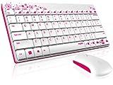 Rapoo 8000 kabellose Tastatur mit Maus (2,4 GHz Wireless Combo Set, optisch, 1000 DPI, Nano-USB, 12 Monate Batterielaufzeit, QWERTZ deutsches Layout)  weiß
