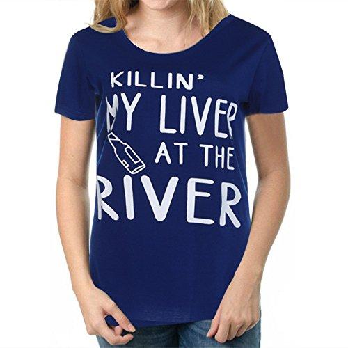 """Longra Donna """"Killin' My Liver At The River"""" T-shirt a maniche corte Blu"""