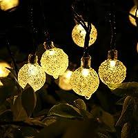 Solar Luz Cadena 30 luces LED 6.4 m Jardín Globe Cristal exterior solar bola iluminación para Fiesta Navidad Exterior Bodas Fijo Decoración(Blanco Cálido)