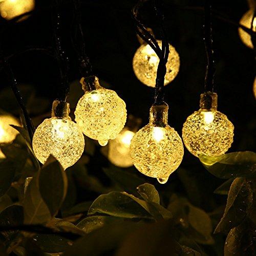Globe all'aperto natalizia, Fuori 30 sfera di cristallo stringa solare luci a LED, impermeabile di giardino, Natale, Albero, Casa, Vacanze, Casa, Patio, Giardino, Nozze, Decorazione della festa di illuminazione, 6.4m, 8 modalità (Bianco Caldo)