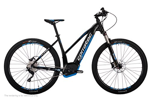 Corratec Damen E-Power X Vert 29er CX Trapez Fahrrad, Schwarz matt/Weiß/Process Blau, 39