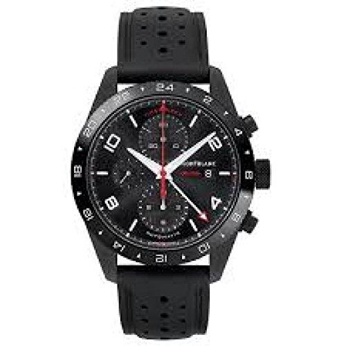 Uhr Montblanc Herren 116101Schalter Stahl Quandrante schwarz Armband Silikon