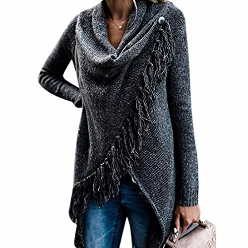 Ai.Moichien Womens Tassel Fringed V Front Vintage Plaid Pashmina Shawl Wrap Scarf Knitwear Tops Cloak Cape Poncho Sweater Jumper S-2XL
