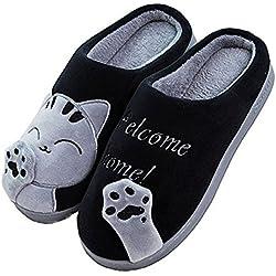 Minetom Primavera Invierno Unisex Hombre Mujer Casa Zapatillas Suave Peluche Shoes Cartoon Gato Zapatos Pareja Slippers A Negro EU 20