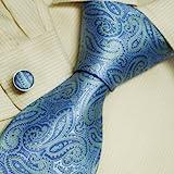 A2010 Royal Blue Patterned verdi giorno lavorativo Avvocati One Size Fornitura completa il disegno di seta Cravatte Gemelli Set 2PT In Y&G