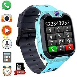 Montre Intelligente pour Enfants, Jeux Smartwatch Phone Appel avec MP3 Caméra Lecteur de Musique Réveil Regarder pour Garçon Fille Adolescents 3-12 Ans (X9 Jeu MP3-Blue)